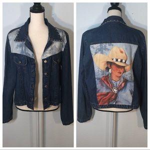 Doreman Burns Cowgirls sweater Denim Jacket EUC